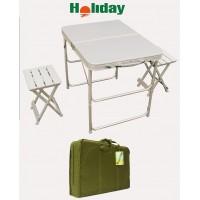 Стол складной алюминиевый с двумя стульями HOLIDAY AluTwin