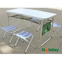 Стол складной алюминиевый с четырьмя стульями HOLIDAY Voyager