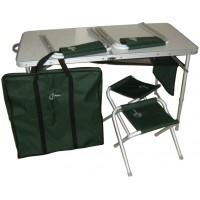 Стол складной алюминиевый с четырьмя стульями SCOUT TA-21407