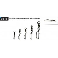 Вертлюг с карабином VMC 3518 Ball Bearing Swivel With Welded Ring BK №4  60кг (2шт)