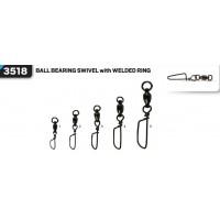Вертлюг с карабином VMC 3518 Ball Bearing Swivel With Welded Ring BK №5  80кг (2шт)
